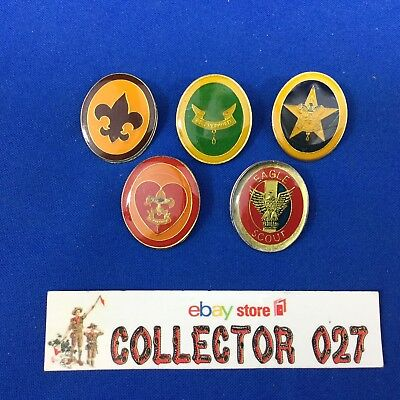 Boy Scout 5 Rank Pins From 1980's Including Eagle Scout