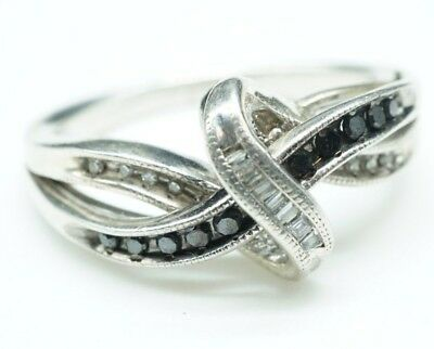 1eb5a5af4 Kay Jewelers / Black & Clear Diamonds / Sterling Silver Ring / Size: 6.5(