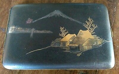Early 20th century signed Japanese Shakudo cigarette case highlighted with gold