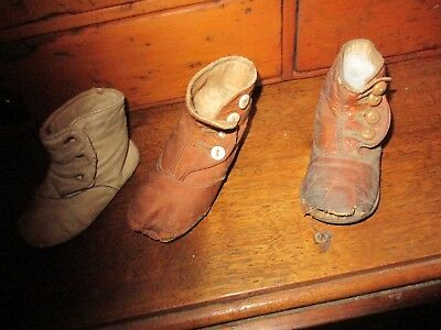 Antique Lot 3 High Button Child's Boot Shoes Brown Cream Leather Primitive AAFA