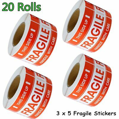 20 Rolls 500/Roll LARGE 3 x 5 Fragile Stickers Handle With Care Shipping Labels