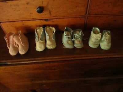 Antique Vintage Sweet Lot 4 Pairs Baby Doll Shoes Wool Felt Primitive PA Find