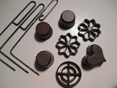 Mixed Lot of Cast Iron Patty Molds and Handles - 7 Molds & 3 Handles - PTY10-1