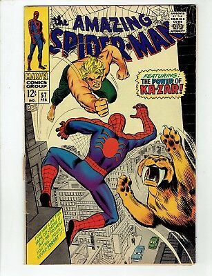 Amazing Spider-Man #57 (Feb 1968) Ka-Zar! Stan Lee- No Reserve/ Free Shipping!