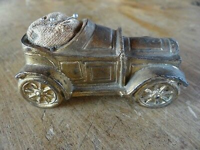 Antique Vintage Sewing Pincushion 1920's Figural Pot Metal Car Nice Patina Cute!