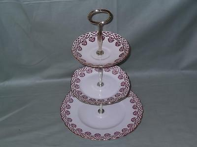 Vintage Royal Vale 3-Tier Hostess Cake Plate Stand Pink Floral Pattern No.7221