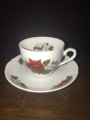 Bavaria Schumann Germany Golden Crown E & R Cup Saucer Christmas Holiday Bouquet