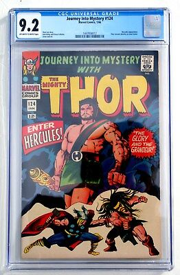 CGC 9.2 JOURNEY INTO MYSTERY with THOR #124 * 1966 * Hercules! * Marvel Comics