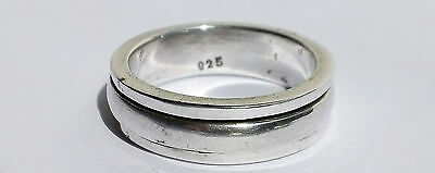 Sterling 925 Narrow Recessed Dome Worry / Meditation Spinner Ring - Sz  9 1/2