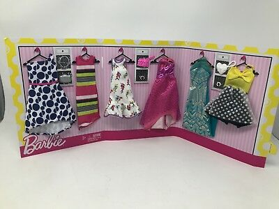 Mattel Barbie 6 Fashion Gift Pack 6 Dresses W/ 3 Purses + Accessories New