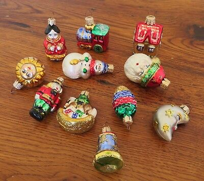 Vintage Poland Mercury Glass Figural Christmas Ornaments  Lot of 11 Mica Glitter