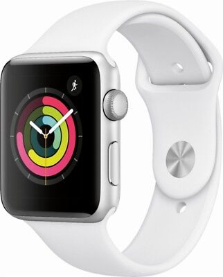 Apple Watch Gen 3 Series 3 42mm Silver Aluminum - White Sport Band MTF22LL/A