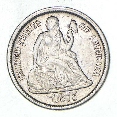Full Liberty - 1875 Seated Liberty Silver Dime *823