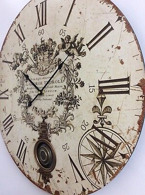 EXTRA LARGE Antique French Vintage Style Shabby Chic Round Wall Clock NEW