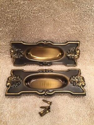 Fancy Vintage Pr Stamped Steel Window Lifts Flush Cup Escutcheons w Screws NOS