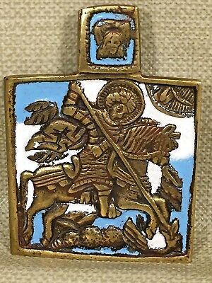 St. George Russian Icon Bronze & Enamel Christ's Head w/ Hanging Ring