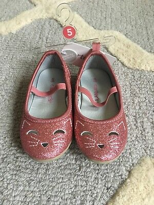 87f6ae6636a334 Cat   Jack Girls Pink Glitter Kitty Cat Ballet Flats Size Toddler 5