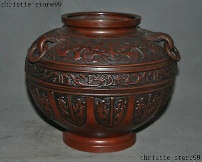 Marked Old Chinese Pure Bronze Copper Animal Pattern Zun Cup Bottle Pot Vase Jar