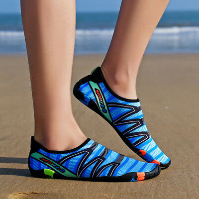Men Women Casual Beach Striped Flats Athletic Trainer Sports Swim Water Shoes
