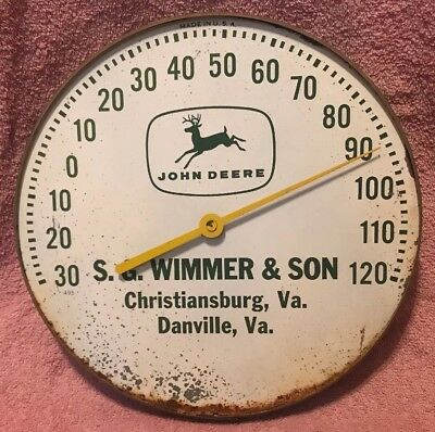 Vintage John Deere S.G. Wimmer & Son Danville Virginia Thermometer - Made In USA