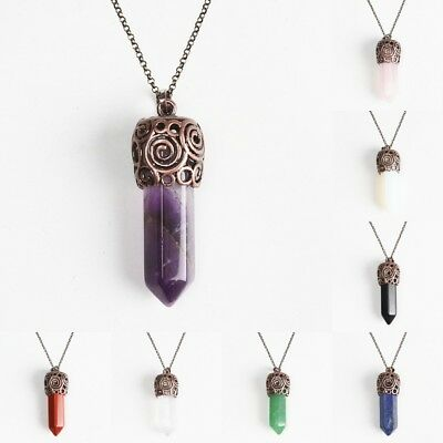 Amethyst Opalite Crystal Hexagonal Pointed Reiki Chakra Copper Pendant Necklace