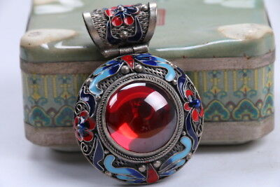 Old Decorated Handwork Miao Silver Carving Flower Inlay Zircon Pendant  bb222