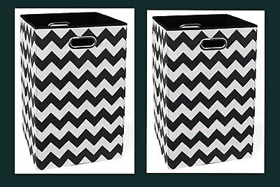 2 - Modern Littles BLDLAUN101 Chevron Folding Laundry Basket Toy Bin Black/White