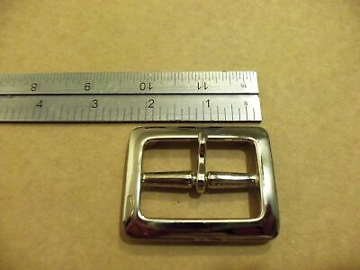 """1 3/4"""" Nickeled Solid Brass Square Middle Bar Belt Buckle"""