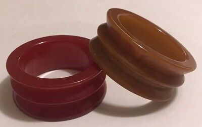 Pair of Vintage Bakelite Carved Napkin Rings Butterscotch Brown~Deep Cherry Red