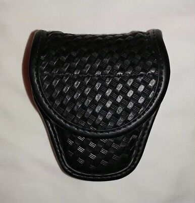 Bianchi Accumold Double Handcuff Pouch Basketweave Hidden Snap