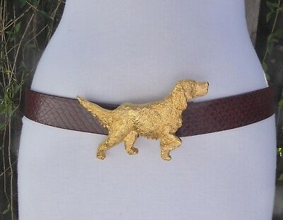 Vtg. Dotty Smith Dog Gold Tone Metal Buckle w/Burgundy/Brown faux.Leather Belt