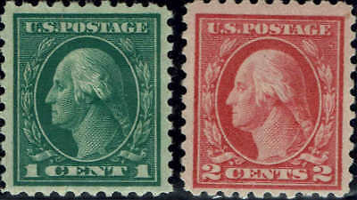 #462-63 1916 1c AND 2c  PERF 10 REGULAR ISSUES  MINT-OG/LH