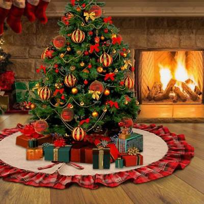 48'' Xmas Burlap Tree Skirt Buffalo Plaid Ruffle Edge with Knot New Year Decor