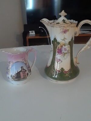Large Antique Coffee Pot and Creamer Hand Painted