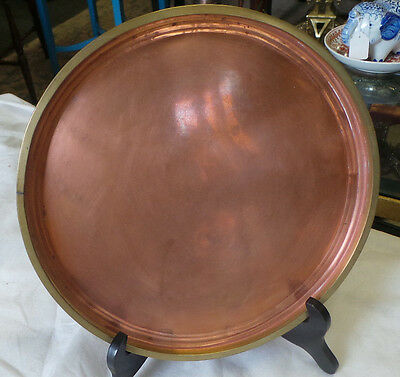 Vintage  Rustic Copper Plate With Brass Trim