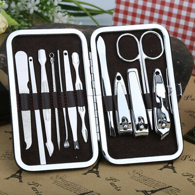 10 PCS Pedicure Manicure Set Nail Clippers Cleaner Cuticle Grooming Kit Case Set