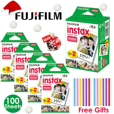 100 Sheets Fujifilm Instax Mini White Film Fuji instant photos 7s 8 9 90 PIC 300