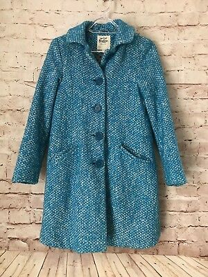 GORGEOUS Girl's MINI BODEN Blue Pea Coat Size 11-12 Years Wool Blend