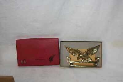 Vintage Solid Brass Eagle Name Plate Mail Box Office Door Federal Eagle