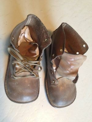 Antique Brown Tie Leather Baby Shoes