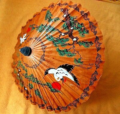 Vintage Japanese Hand Made Parasol Made With Rice Paper And Bamboo