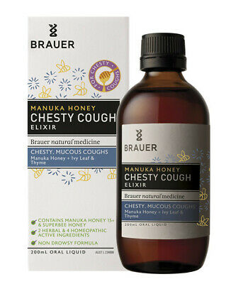 Brauer Manuka Honey Chesty Cough Elixir 200mL Non Drowsy