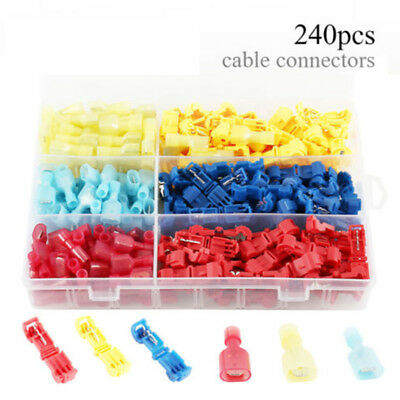 240pcs/set Wire Terminal Connectors Insulated Quick Splice T-Taps New Practical