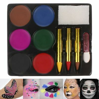 Carnival Makeup Face Body Paint Set 6 Colors Palette Painting Art Kids Safe