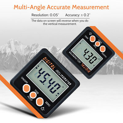 1x Bevel Angle Boxes Goniometer LCD Digital Inclinometer Protractor Orange Gauge