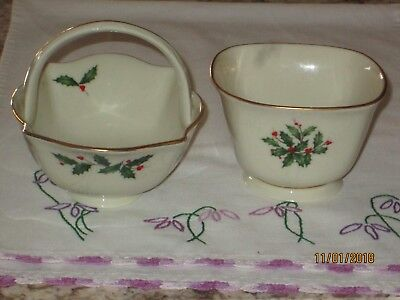 Lenox USA Porcelain Candy Dish and Basket with  24K Gold Trim for Christmas