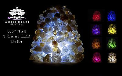 """6.5"""" Citrine Cluster Crystal Lamp #2 Cord Clip And 9 Color LED Bulbs + FREE GIFT"""