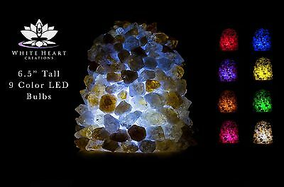 """6.5"""" Citrine Cluster Crystal Lamp #4 Cord Clip And 9 Color LED Bulbs + FREE GIFT"""