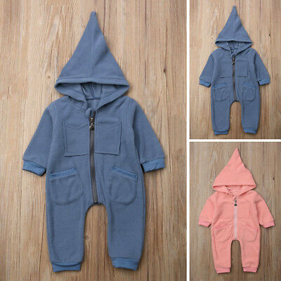 Jumpsuit Warm One-piece Hooded Autumn Winter Clothes Romper Playsuit For Babies