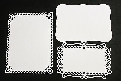 6 x White Pink Valiant Honor Die Cuts Mats Card Making Toppers Scrapbooking